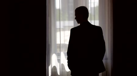 модный : silhouette of stylish man in suit looking out the window