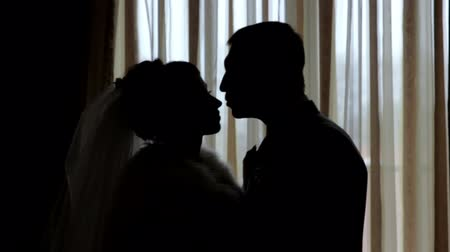 contornos : silhouettes of the bride and groom on the background of a window