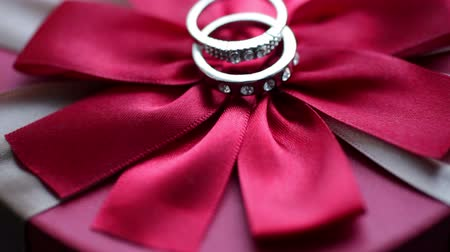 bearer : Two rings lie on a red bow Stock Footage