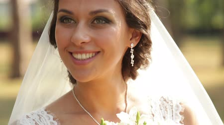 mellow autumn : happy bride walking in a park Stock Footage