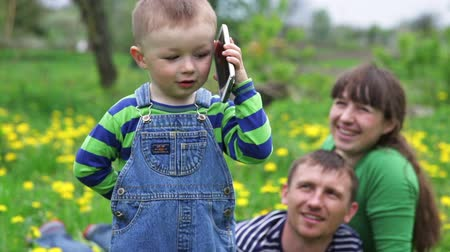 yay : little boy talking on the phone on a spring meadow