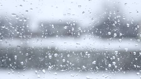 rainy : blurred view from the window with raindrops Stock Footage