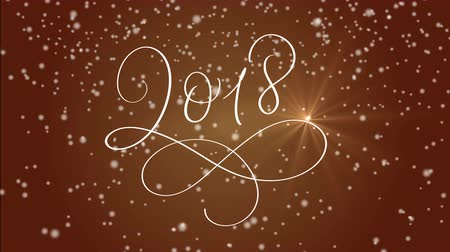 stroke : 2018 happy new year calligraphy lettering text and snow on red background. Christmas greeting animation for web banner or video holidays card Stock mozgókép
