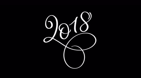 Новый год : 2018 happy new year calligraphy lettering text with alpha channel. Christmas greeting animation for web banner or video holidays card Стоковые видеозаписи