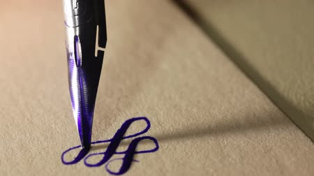 Calligraphy swirl process. Writing flourishes on calligraphy paper with black ink. Calligraphy pen nib. Creative scene
