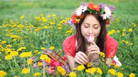 hortênsia : Beautiful woman with wreath picks flowers on meadow. Happy woman in spring or summer season. I love to work with plants Vídeos