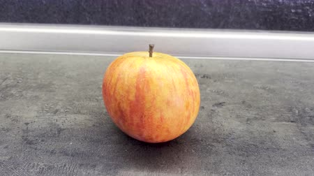 Beautiful fresh Apple is on the table. Concepn Close up 4K, copy space Stok Video
