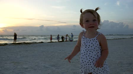 pigtailler : Cute little girl stands on the beach pointing at the sunset, 4K Stok Video