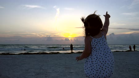pigtailler : Cute little girl waves and points at helicopter at the beach, 4K