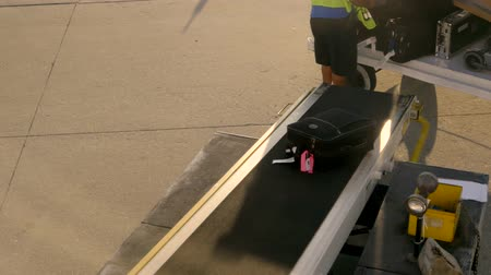 asfalt : Person loading baggage onto plane, 4K Wideo