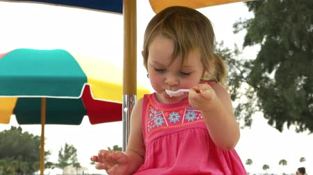 pigtailler : Cute little girl with pig tails eating ice cream on a picnic table Stok Video