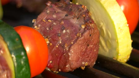 propane : Closeup of Seasoned-Beef Kabob Sizzling on Grill, 4K