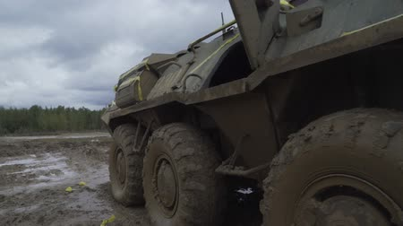 armature : Military armored personnel carrier. Army machinery. Stock Footage