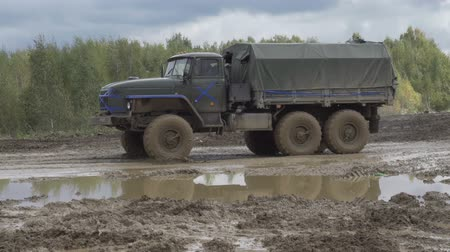 ural : Army Staff Russian truck driving on dirt road