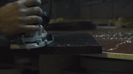 dungarees : furniture factory production and processing of sawing the wood element Stock Footage