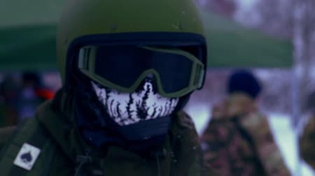 cold war : Military man in helmet and skeleton Balaclava Stock Footage