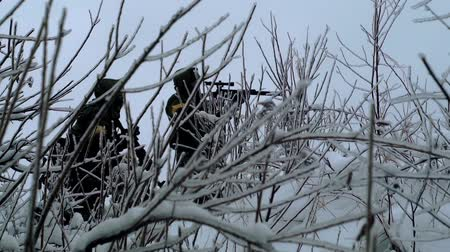 cold war : military weapons in the winter woods