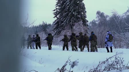 bullet : military weapons in the winter woods