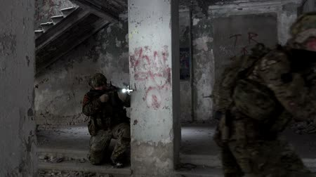 hnědožlutý : Military men with arms defending the building Dostupné videozáznamy