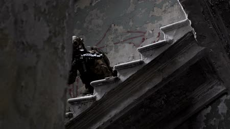 ruins : Military men with arms defend the building and go up the stairs