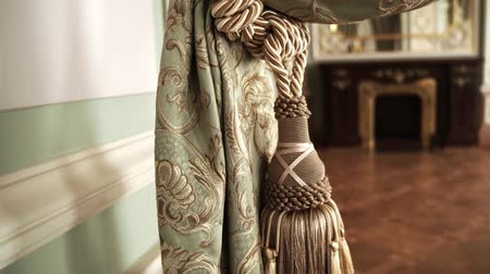 arejado : Luxury curtains with tassels close up. Beautiful curtains with tassels Vídeos
