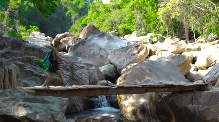 keşif : Boy with backpack walking on wooden bridge over rapid river while climbing in mountains. Boy tourist walking on suspension bridge background mountains and stony river in jungle forest. Stok Video