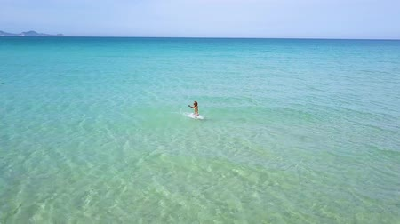 maldivler : Happy woman enjoying sea water on summer beach drone view. Woman in turquoise sea water on paradise beach aerial view.