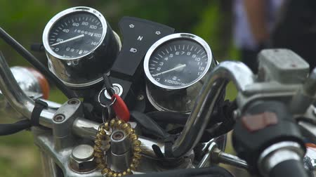 kilometer : Speedometer, odometer and ignition key on motorcycle dashboard. Close up control panel motorcycle.