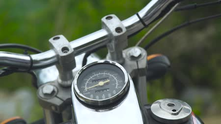 kilometer : Speedometer on motorcycle dashboard. Close up design control panel motorcycle. Stock Footage