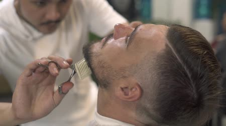 Cutting beard with barber scissors and comb in male salon. Male barber cutting beard with hair scissors in hairdressing salon Professional care to bearded man.