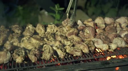 barbecued : Men cooking chicken meat on barbeque grill while picnic close up. Process preparation barbeque meat on grill on fire and coal. Outdoor food cooking concept.