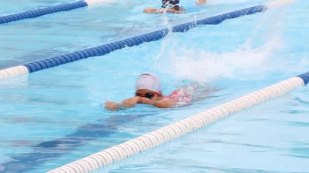 yarışma : Children are swimming. race of the On Nut swimming cup, in Bangkok.