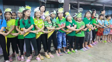 scout : Student 9-10 years old, Scout activities weave harmony, Auld Lang Syne song, Scout Camp in Pieamsuwan school Bangkok Thailand. Stock Footage