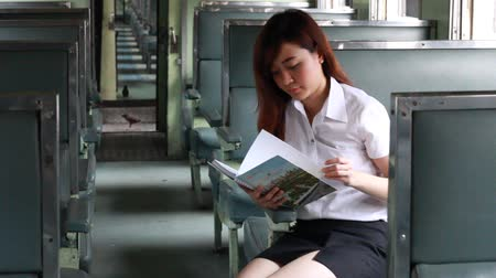 titkár : Portrait of thai adult beautiful girl read a book, Leisure travel by rail Stock mozgókép