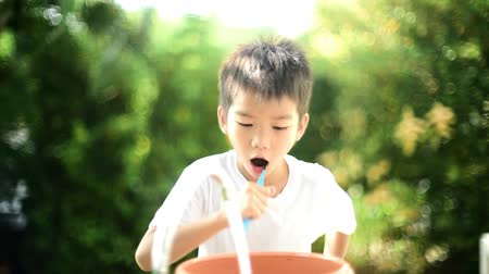 brushing : Preteen Asian boy brush his teeth Stock Footage