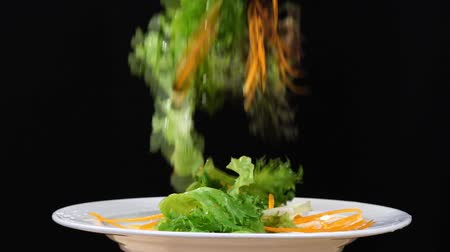 Slow motion of mix vegetable salad drop in a white plate