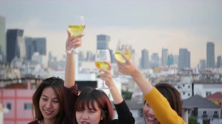 na zdraví : Outdoor shot of young people toasting drinks at a rooftop party. Young asian girl friends hanging out with drinks. Holiday celebration festive party. Teenage lifestyle party. Freedom and fun outdoor.