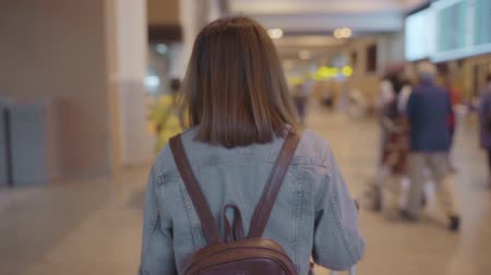 maleta : Slow motion - Happy Asian woman using trolley or cart with many luggage walking in terminal hall while going to boarding flight at the departure gate in international airport. Archivo de Video