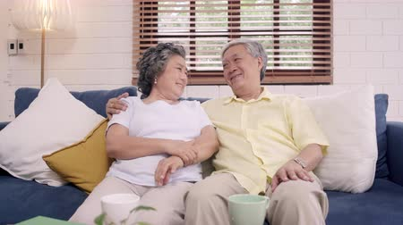 иероглиф : Asian elderly couple feeling happy smiling and looking to camera while relax on the sofa in living room at home. Enjoying time lifestyle senior family at home concept. Portrait looking at camera.