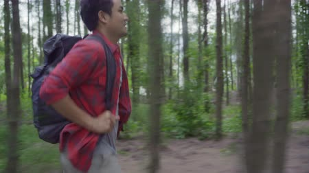 zálesí : Hiker Asian backpacker man on hiking adventure feeling freedom walking in forest, Male enjoy his holidays near lots of tree. Lifestyle men travel and relax in freetime concept.