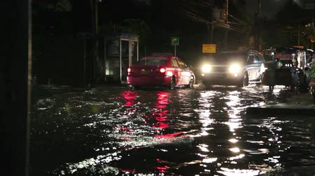 floods : Driving In Flooded Road Tropical Storm at night