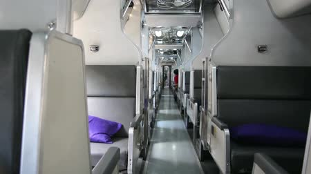 vaga : Interior of train public transportation in Thailand, Seats change to bed for travel over night