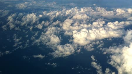 panoramic view : Sky cloud view through an airplane window