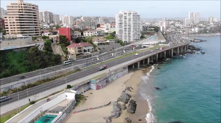 sea bird : Aerial view of a city and a beach in Chile