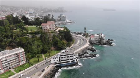 Чили : Aerial view of a city and a beach in Chile