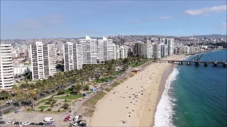 пеликан : Aerial view of a city and a beach in Chile