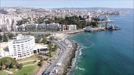 ペリカン : Aerial view of a city and a beach in Chile