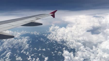 Aerial view of clouds from an airplane