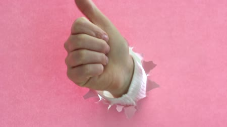 kciuk : Female hand raises thumb up on torn pink paper background.
