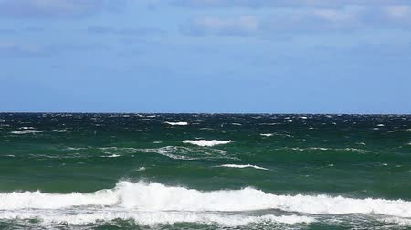 baltské moře : View of the Baltic Sea with strong waves in front of blue sky
